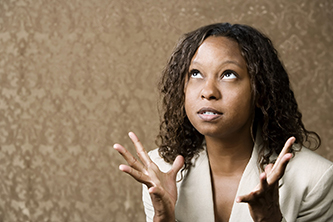 Close-Up Portrait of a Stressed African-American Woman